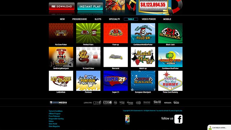 Sloto Cash casino screen